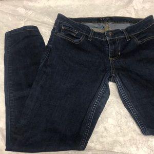 dark low-rise skinny jeans